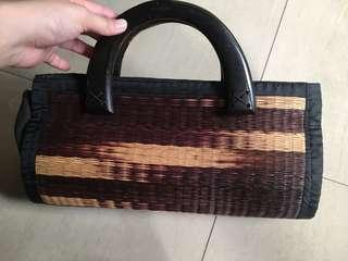 峇里島渡假波希米亞風❤️手工木頭提把編織長型手提包
