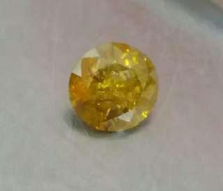 Untreated 0.95ct fancy yellow diamond 6x3.9mm