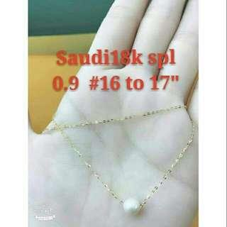 18k saudi gold Floating Pearl necklace