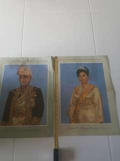 Late 1950 Print Of Malaya King and Queen