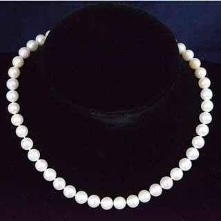 白色淡水珍珠配925純銀扣頸鏈
