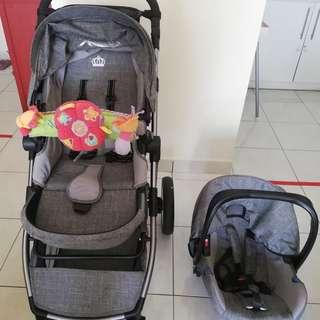 MIMOSA Stroller + 5-point Safety Infant Car Seat For Sale (Pre-Loved)