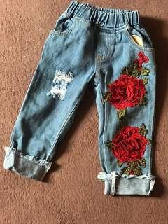 Embroidery Girl Jeans