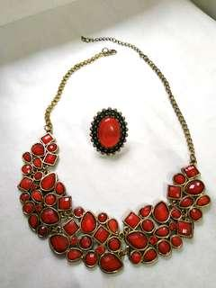 Red Necklace with Ring