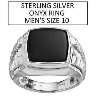 SILVER ONYX RING MEN'S SIZE 10