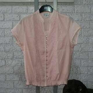 VERVE Baby Pink Cotton Top Size M/10