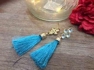 Earrings white and blue colours