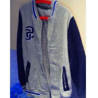 🚚 棒球外套 Baseball Jacket  灰藍 拼色 #MLB