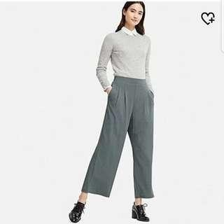 Uniqlo ponte tuck wide pants / seluar loose