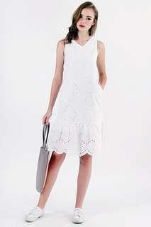 🚚 NEW Lovet Janice Eyelet Midi Dress White