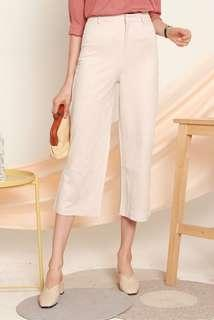 NEW ACW Suede Structured Culottes Pants in Cream