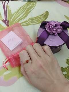 Crystal Zahara 香港自家品牌 鍍18k玫瑰金 六爪 紅色蘇聯鑽戒指 15mm 香港 size 9