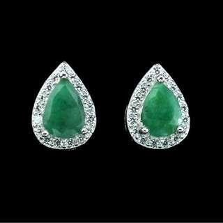 Gorgeous Pear Top Rich Green Emerald Earrings in 925 Sterling Silver Earrings