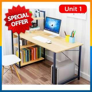 ⭐Crack⭐Modern Home Office Table Desk with built-In 3-Tier Shelves (120x40cm)