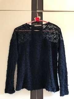 Atmosphere Midnight Blue Top with lace
