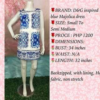 D&G inspired blue majolica dress