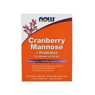 🚚 Now Foods, Cranberry Mannose + Probiotics, 24 Packets, (6 g) Each