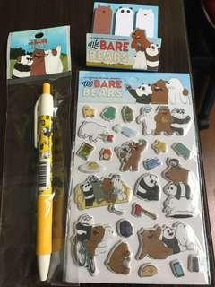 We bare bear Pen + Sticky Notepad + Stickers