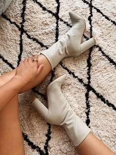 Pretty Little Thing Nude Grey Sock Boots Heels