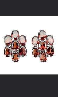 Natural Red Orange Garnet Earrings in 925 Sterling silver