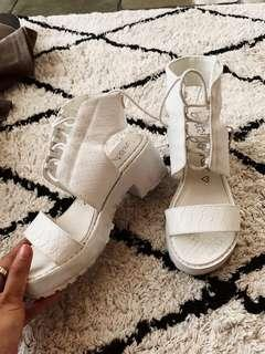 White Lace Up Betts Chunky Platform Sandals Heels