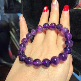 天然紫水晶手鏈,尺寸:10mm➕,開發智慧,幫助思考,集中精神,增加記憶力,消除霸氣,招貴人。