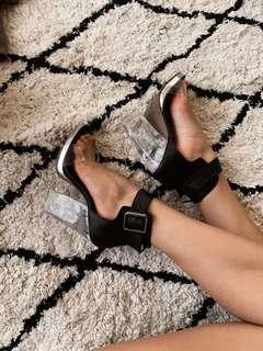 Clear Heels with Black Buckles