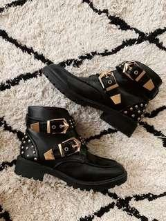 Black Leather Chunky Boots with Gold Studs and Buckles