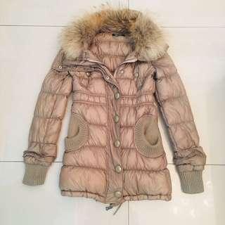 🚚 日貨百貨專櫃Spiral girl 貉子大毛領皮草可拆卸 修身合身收腰顯瘦 超保暖輕質羽絨洋裝大衣外套