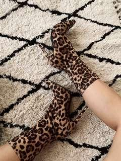 Leopard Print Suede Point Toe Heeled Sock Boots