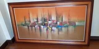 Abstract Oil on Canvass Painting with Frame