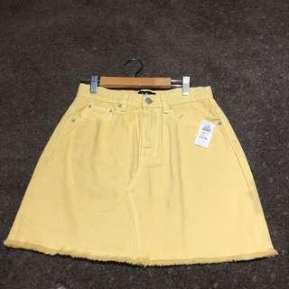 Pastel yellow A-line skirt
