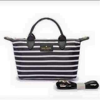 Kate spade black and white striped 2 way bag