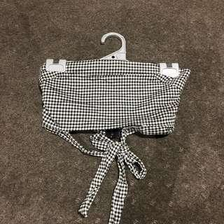 Checkered tie up bandeau
