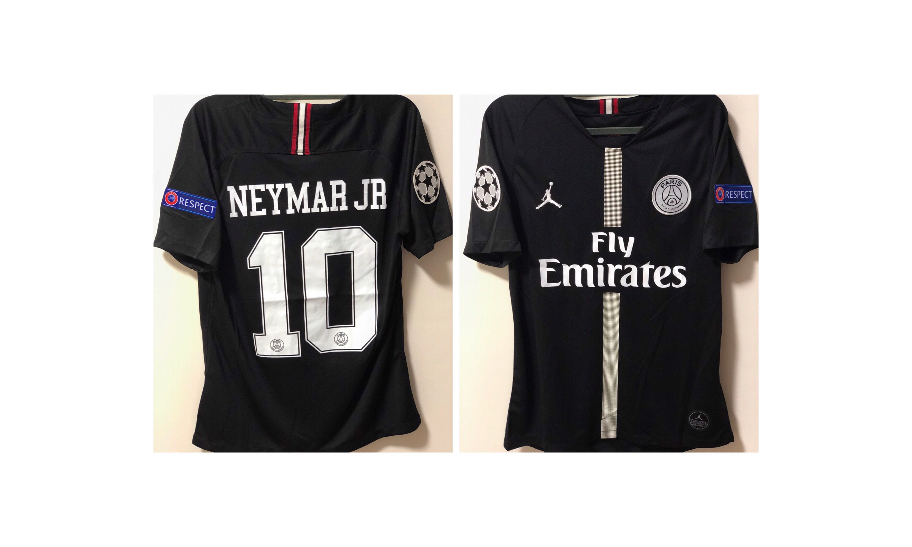 58e74bcb4f3 18/19 PSG Third Jordan Black (NEYMAR JR), Sports, Sports Apparel on  Carousell