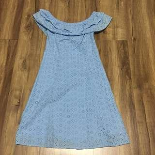 H&M Light Blue Off Shoulder Dress