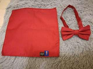 Red bow tie and pocket square