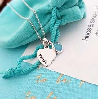 Turquoise Blue Drop & Heart Charm Necklace | Hand Stamped & Personalized