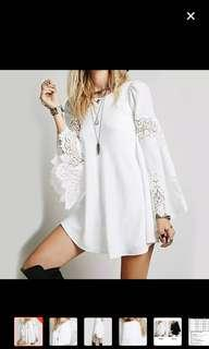 🚚 🆕💁🏻♀️ Bell Sleeve Lace Patchwork Tunic Dress.
