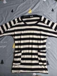 長版條紋針織五分袖上衣~材質舒服