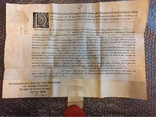 18世紀中期荷蘭國會古董官員委任狀手稿 約250年前