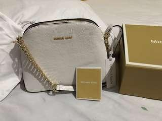 Michael Kors Cindy large dome crossbody saffiano leather white