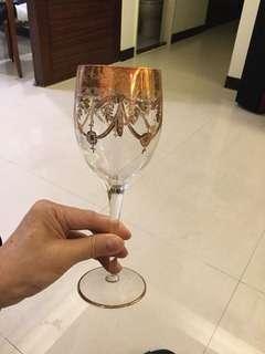 🚚 捷克鑲金邊葡萄酒杯