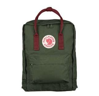 Authentic Fjallraven Kanken (Forest Green/Ox Red)