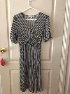Wrap dress with slit