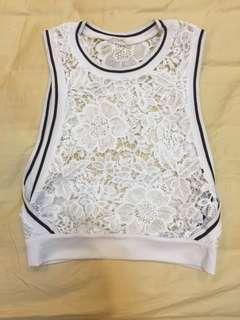 Bershka black and white lace top