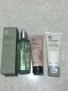 🚚 The Faceshop : Chia seed 3-in-1 cooling gel water, rice water foaming Cleanser, white seed exfoliater