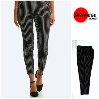 Celana cewek ankle relaxed pamts stripe hitam m 30.31.32