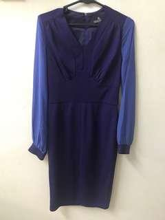 Long sleeve sheer blue dress