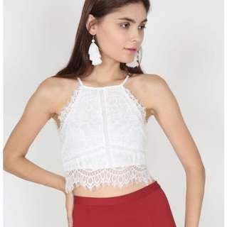 MDS Embroidered Lace Trimmed Top